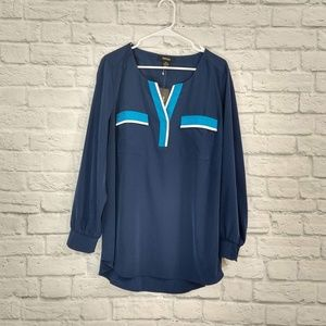 Style&Co | Blue V Neck Cuff Sleeve Blouse